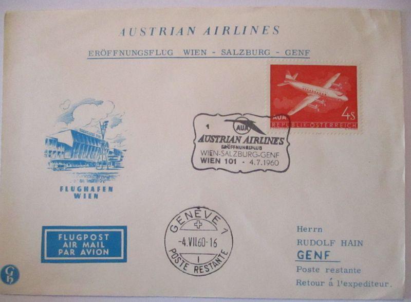 AUA Austrian Airlines Erstflug Wien Salzburg Genf 1960 (5677)