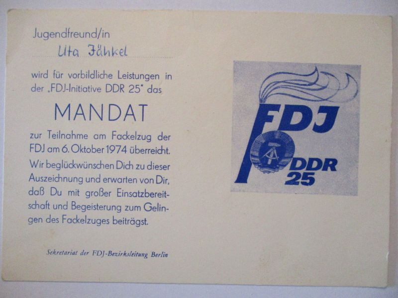 DDR FDJ Mandat zur Teilnahme am Fackelzug 1974 (40577)