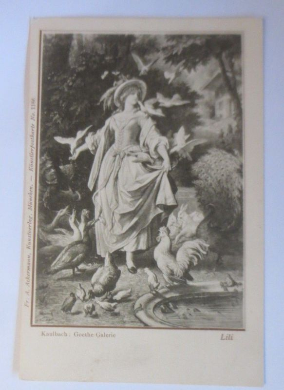 Künstlerkarte, Frauen, Mode, Tauben, 1900, Kaulbach, Goethe Galerie ♥ (70160)