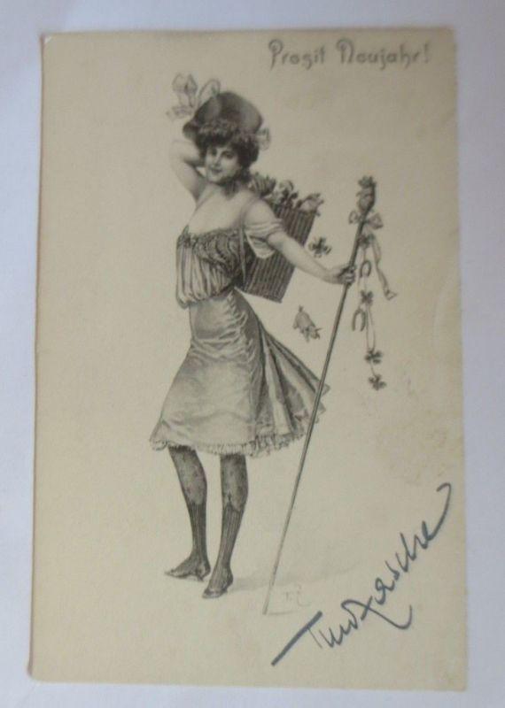Neujahr, Frauen, Mode, Glückssymbole,   1901, Theo Stroefer ♥ (9914)