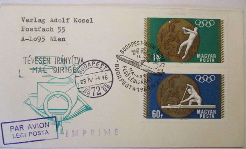 Flugpost, Luftpost, Ungarn 1969 (22742)