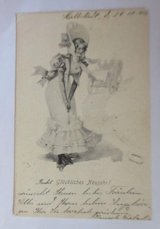 Neujahr, Frauen, Mode, Hufeisen,   1901  ♥ (28517)