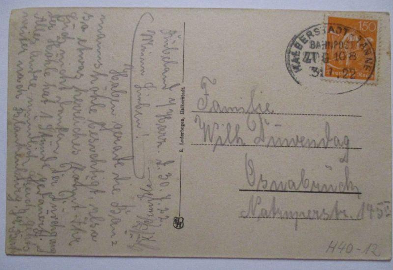 D.Reich, Bahnpost Halberstadt Tanne Zug 108 AK Rübeland 1922 (48312)
