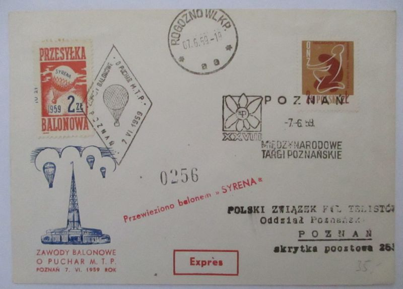 Polen, Ballonpost 1959 (57406)