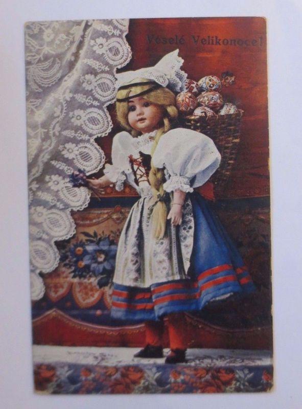 Ostern, Puppe, Korb, Ostereier,    1914 ♥ (62956)