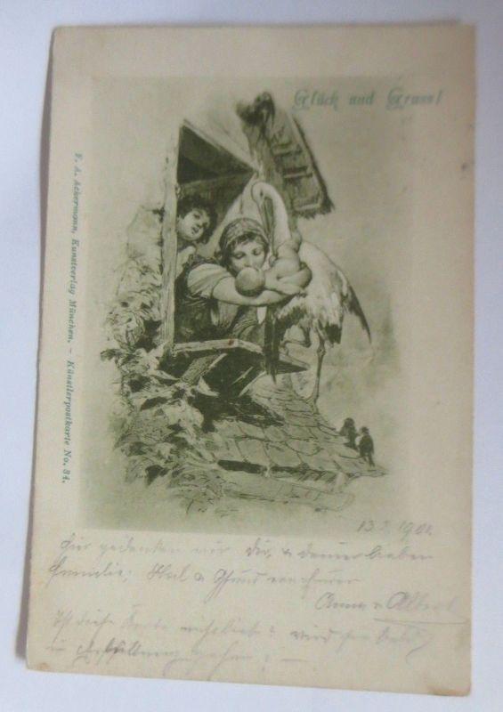 Künstlerkarte, Kinder, Klapperstorch, Glück und Gruß,  1907 ♥ (70133)