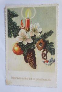Weihnachten, Tannenzweig, Zwerge, Kerze,   1949  ♥  (65776)