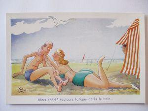 Meer, Strand, Baden, Mann und Frau, Scherzkarte (23222)