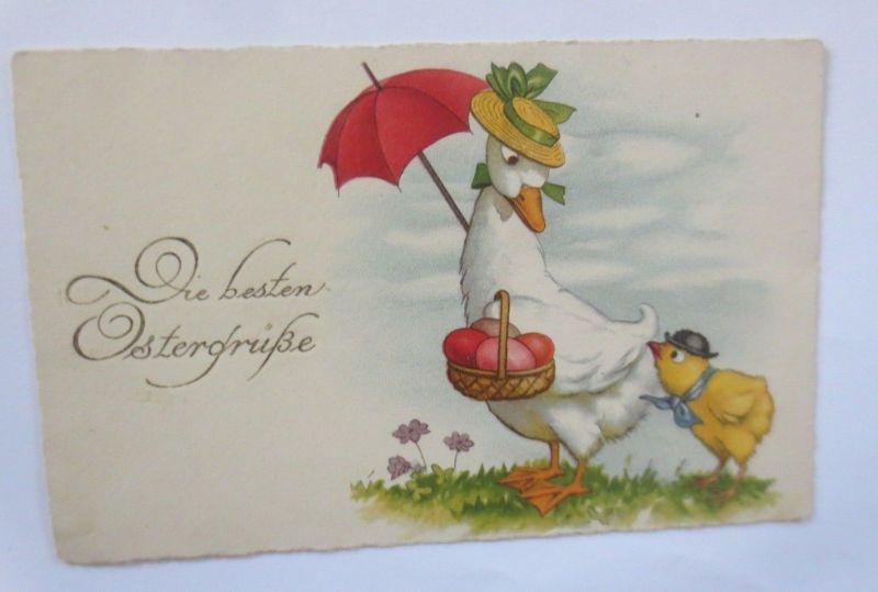 Ostern, Ente, Küken, Korb, Ostereier,    1930  ♥ (65766)