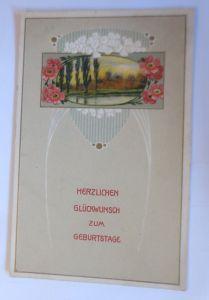 Geburtstag, Blumen, Landschaft, Jugendstil,  1915, Prägekarte  ♥ (47675)