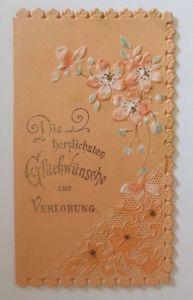 Verlobung, Blumen, Jugendstil,    1900, Kleine Klappkarte ♥ (64622)