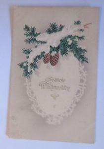 Weihnachten, Tannenzweige, Tannenzapfen,   1914, Prägekarte ♥ (68416)