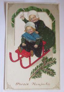 Neujahr, Kinder, Mode, Schlitten, Biedermeier  1912 ♥  (53471)