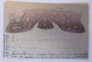 Künstlerkarte, Frauen, Blumen, Jugendstil, 1903, Prägekarte, Glitzer, ♥ (37246)