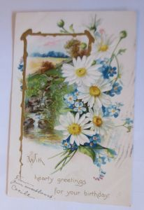 Geburtstag, Blumen, Landschaft,   1907, Prägekarte  ♥  (49656)