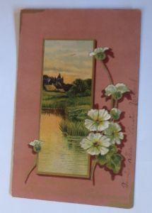 Geburtstag, Landschaft, Blumen,   1913, Prägekarte  ♥  (28002)