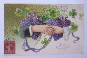 Neujahr, Herz, Veilchen, Kleeblatt, Gratulieren,   1907, Prägekarte  ♥ (8522)