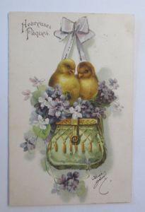 Ostern, Küken, Tasche, Blumen,    1908, Prägekarte ♥  (68072)