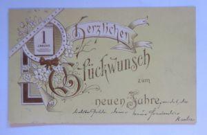 Neujahr, Kalender, Blumen,  1900, Prägekarte ♥  (54818)