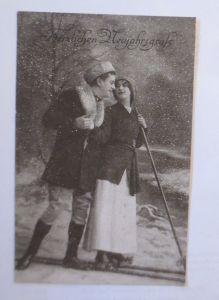 Neujahr, Frauen, Männer, Ski,   1910  ♥  (607)