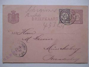 Niederlande, Ganzsache 1895 mit Zusatz nach Müncheberg (48249)