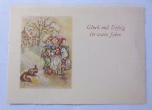 Neujahr, Kinder, Eichhörnchen   1930, signiert  ♥ (61169)