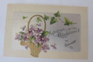 Geburtstag, Blumen, Veilchen, Efeu,   1925, Prägekarte  ♥ (30543)