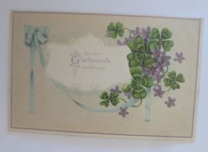 Geburtstag, Blumen, Veilchen, Kleeblatt,   1912, Prägekarte  ♥ (51581)