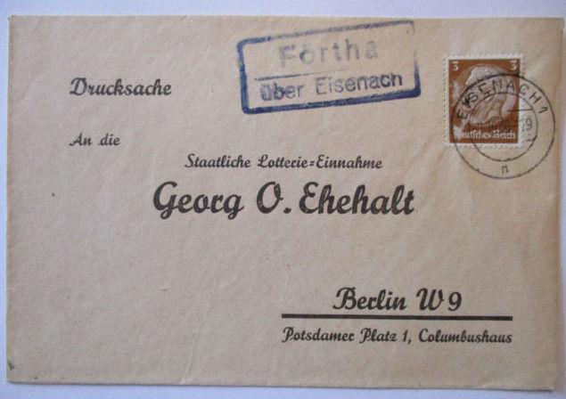 D.Reich, Landpoststempel Förtha über Eisenach 1936 (49745)