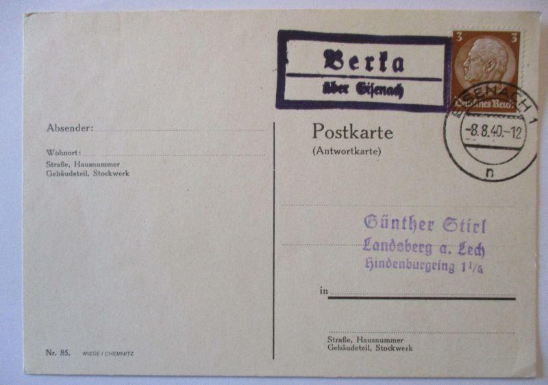 D.Reich, Landpoststempel Eisenach 1940 (49400)