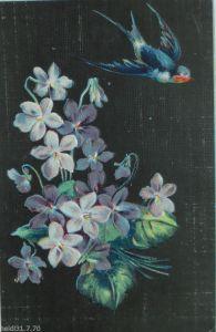 Künstlerkarte, Handgemalt, Meer, Segelboote, Blumen,   1900, sig. S.L. ♥ (9078)