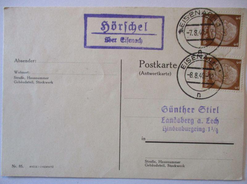 D.Reich, Landpoststempel Hörschel über Eisenach 1940 (37043)
