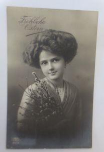 Ostern, Frauen, Mode, Weidenkätzchen,   1914 ♥ (17850)
