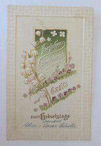 Geburtstag, Blumen, Maiglöckchen,   1903, Prägekarte  ♥ (28553)