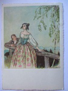 Künstlerkarte, Frau Mann Biedermeier, sign. Rolf Winkler (32084)