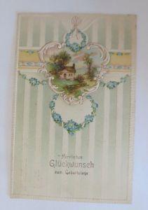Geburtstag, Landschaft, Haus, Blumen,   1919, Prägekarte  ♥ (56000)