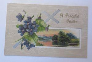 Ostern, Kreuz, Veilchen, Landschaft,   1908, Prägekarte  ♥ (15184)