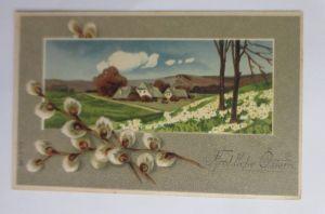 Ostern, Weidenkätzchen, Landschaft,   1905, Prägekarte ♥ (70292)