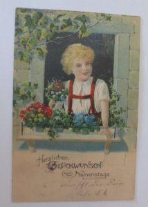 Namenstag, Kinder, Mode, Blumen, Fenster,   1905, Prägekarte  ♥  (11302)