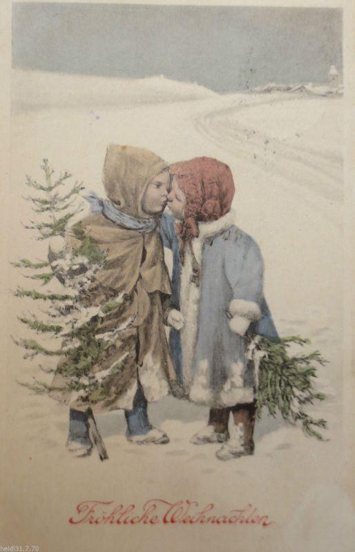 Weihnachten, Kinder, Kuss, Tanne, Zweig, Mode\