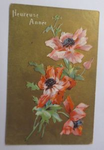 Neujahr, Blumen, Mohnblume, 1909, Prägekarte ♥ (48848)