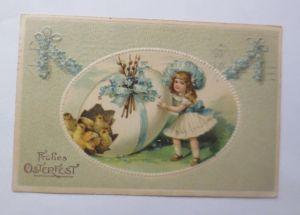 Ostern, Kinder, Mode, Küken, Blumen,   1907, Prägekarte, M&B ♥ (32136)