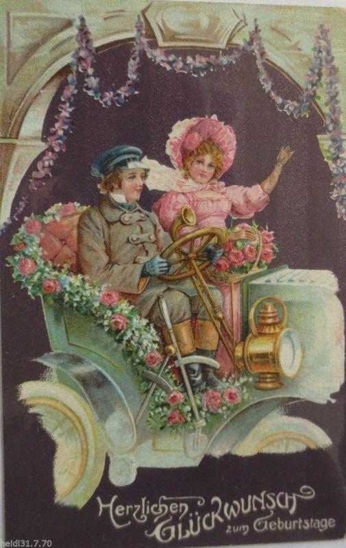 Geburtstag Auto Manner Frauen 1911 Pragekarte 1613 Nr 1613