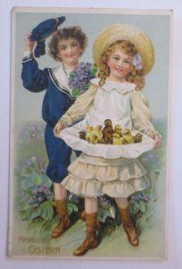 Ostern, Kinder, Mode, Schürze, Küken,     1915, Prägekarte  ♥  (68064)