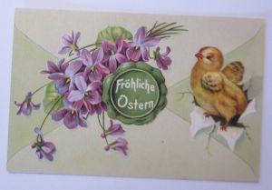 Ostern, Blumen, Küken, Leinwand, Siegel,     1909, Prägekarte  ♥  (68063)