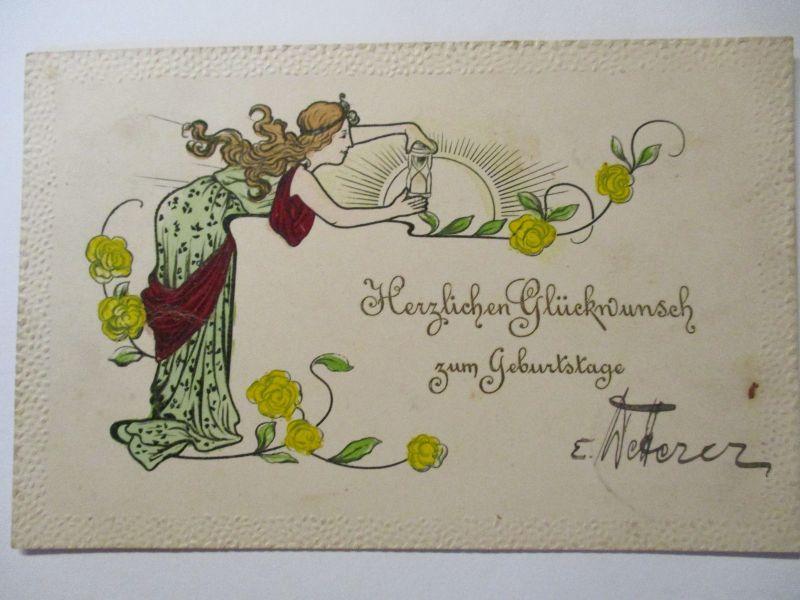 Jugendstil, Geburtstag, Bahnpost Konstanz 1905 (37256)