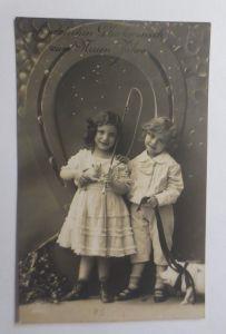 Neujahr, Kinder, Mode, Schwein, Hufeisen, Misteln, 1914  ♥ (18932)
