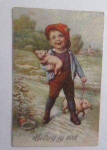 Neujahr, Kinder, Mode, Schwein, Pilze, Hufeisen,    1935  ♥ (13482)