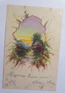 Handgemalt, Landschaft, Haus,   1901, Ganzsache  ♥ (6161)
