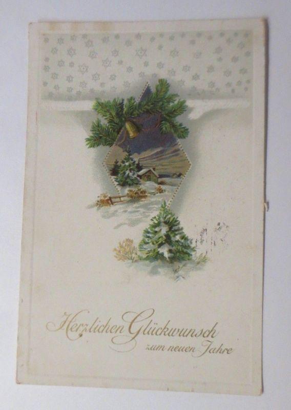 Neujahr,  Winterlandschaft, Haus, Tannenzweig, Glocke, 1915, Prägekarte♥ (12092)